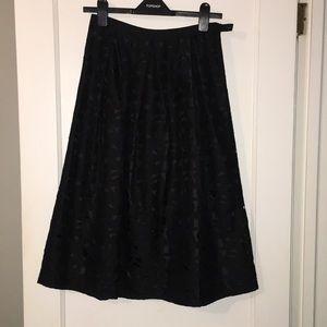 Talbots 100% silk black patterned skirt
